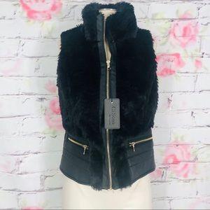 CiSono faux fur and leather vest